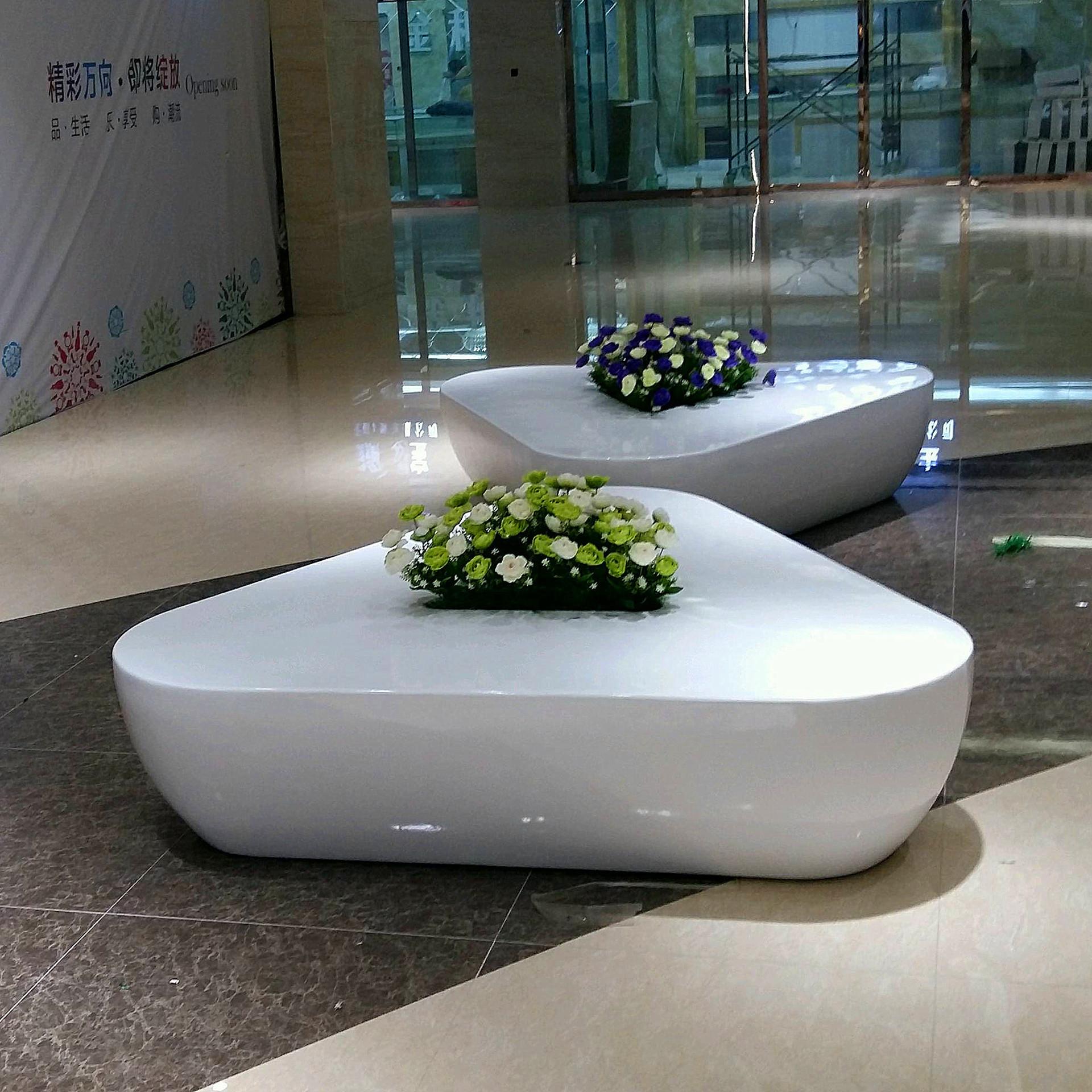 玻璃钢花盆定制艺术花盆造型玻璃钢商场美陈花钵休闲坐凳树池定做