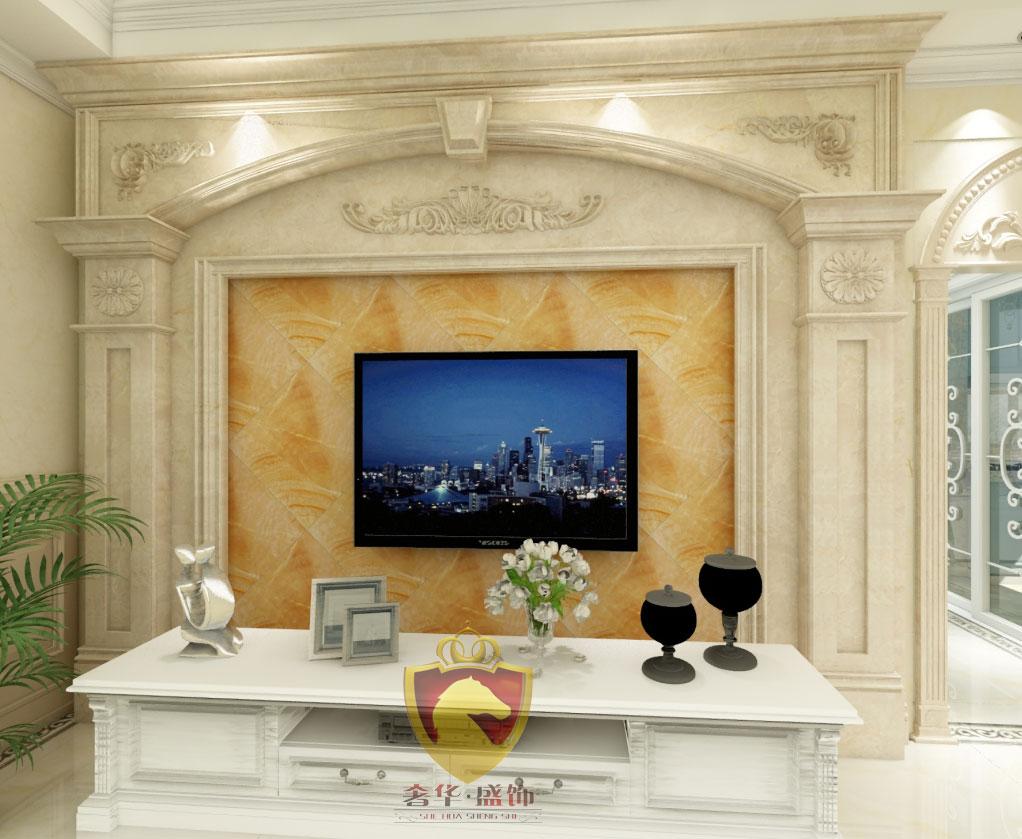 石材罗马柱电视背景墙,奢华盛饰石材背景墙效果图
