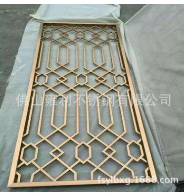 黄钛金不锈钢屏风,花样装饰不锈钢屏风,高端不锈钢隔断