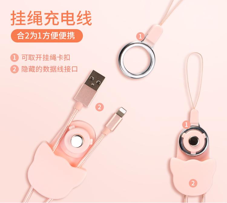 宇安 Heo 苹果数据线 创意数据线挂绳 七夕礼物 安卓 type-c通用 苹果数据线,手机挂绳,充电线