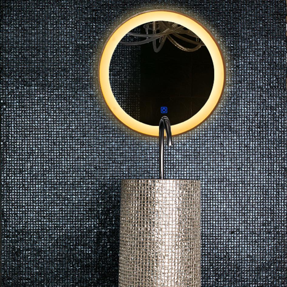 卫生间浴室灯镜酒店圆形LED节能浴室镜 智能触摸开关卫浴镜可定制 卫生间浴室灯镜LED节能浴室镜