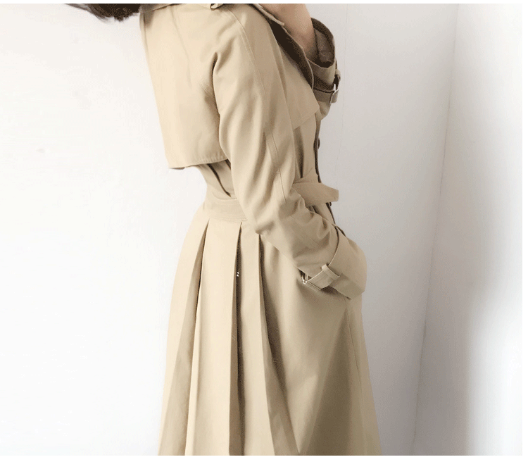 2017年秋季高级定制双排扣修身长款风衣女春秋过膝韩版 双排扣修身长风衣