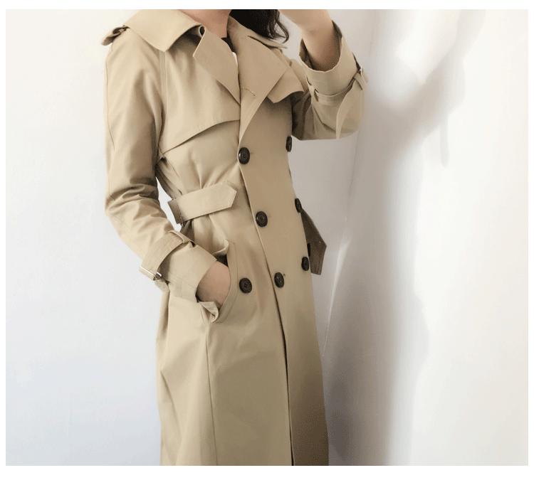2017年秋季裙摆型收腰外套长款卡其色风衣