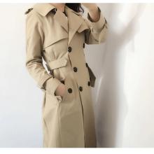 2017年秋季裙摆型收腰外套长款卡其色风衣批发
