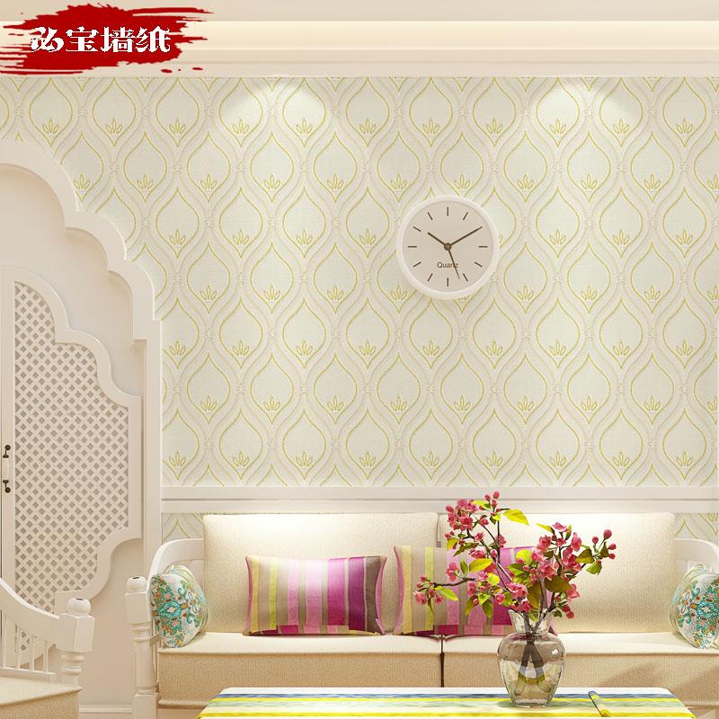 简约现代卧室温馨浅黄色墙纸3D立体精压花无纺布墙纸客厅环保壁纸