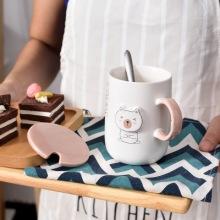 创意可爱小熊马克杯陶瓷水杯浮雕卡通动物色釉杯咖啡杯牛奶杯批发
