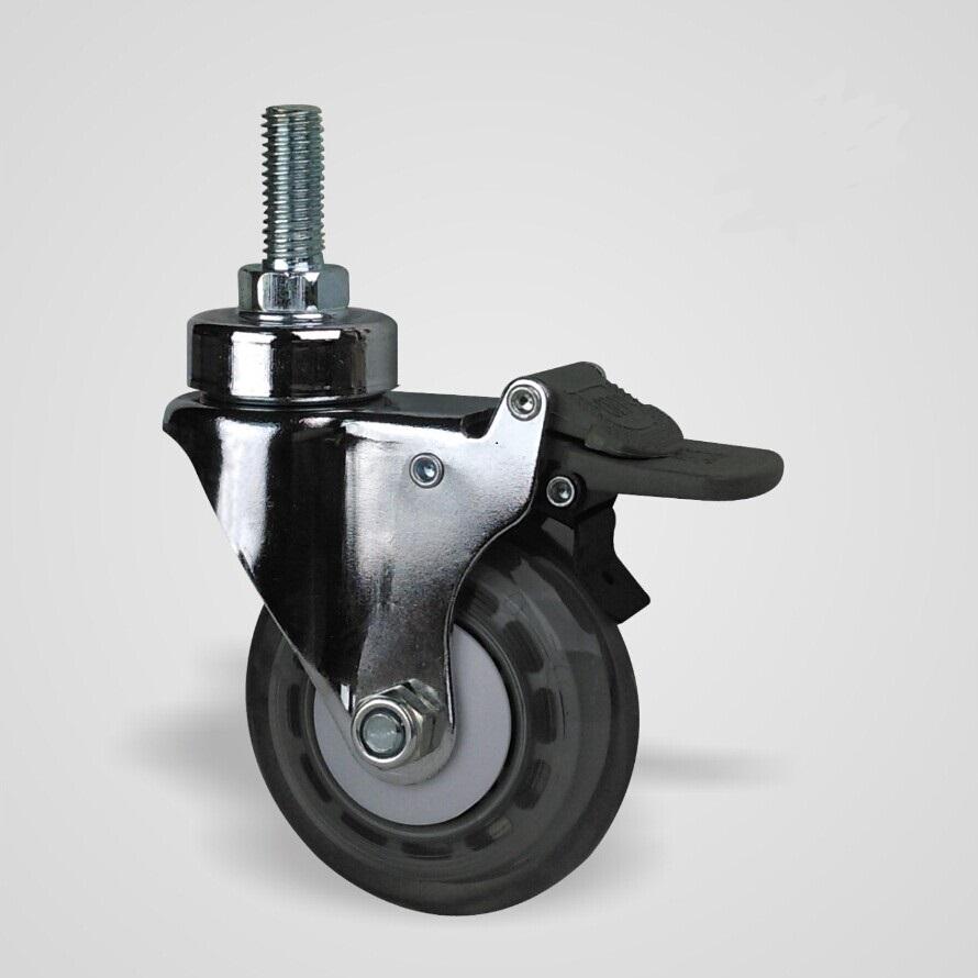工厂直销3寸万向旋转螺丝双刹车高弹性PU灌注轮 手推车脚轮 厂家3寸万向旋转螺丝双刹车脚轮