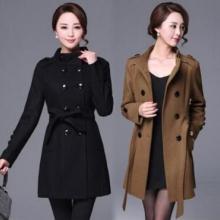 2017年秋冬季立新款韩版气质优雅立领纯色修身口袋系腰带品牌风衣