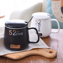 520早餐情侣杯陶瓷马克杯1314带盖带勺创意陶瓷杯子带盖咖啡杯图片