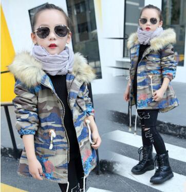 冬季爆款女童迷彩牛仔棉衣