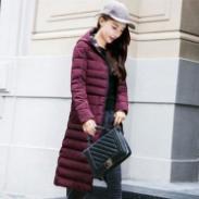 女装中长款拉链连帽品牌棉衣棉服图片