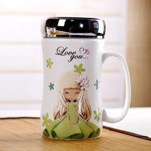 创意花花女孩马克杯密封水晶盖杯陶瓷杯带盖办公室咖啡杯可定制批发