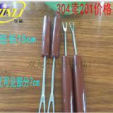 本甩卖 304不锈钢水果叉 塑料水果叉 彩色水果叉 火锅叉 低价