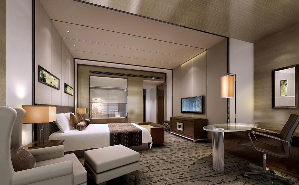 绵阳度假酒店装修设计酒店建筑依山傍水,外观为朴素的现代中式图片