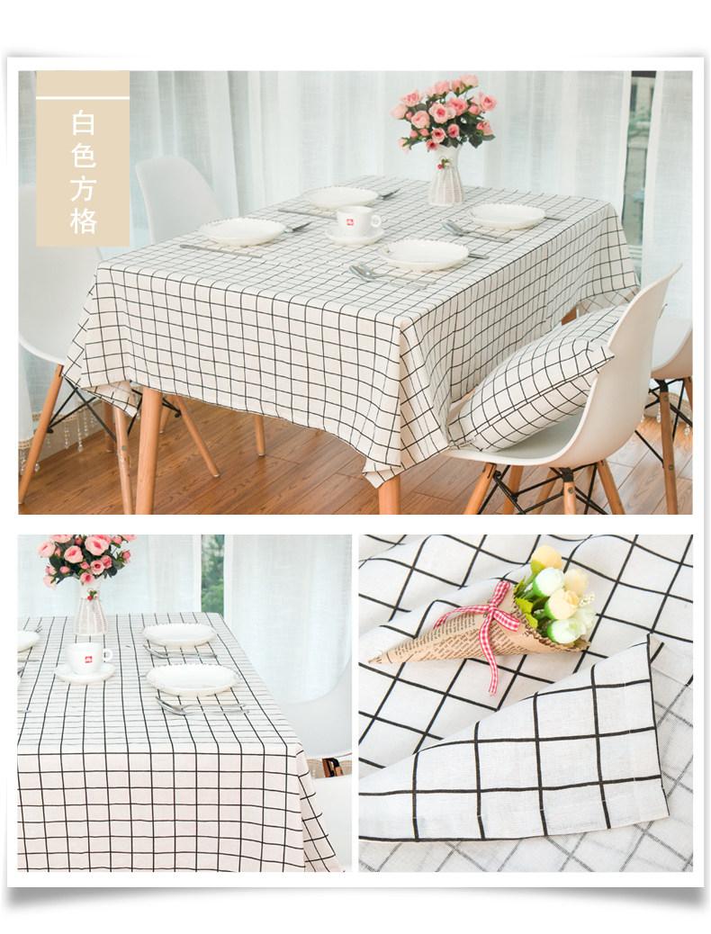 亚麻面料 麻布印花 格子桌布 田园餐桌布 桌布
