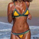 欧美性感手工钩边彩色比基尼套装拼色橡胶女士针织沙滩泳装批发
