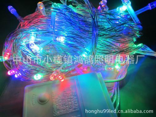 LED四彩24V灯串 铜线彩灯 闪灯 串灯 批发婚庆户外防水星星灯