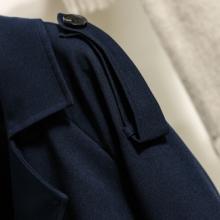 2017年新款定制藏青色双排扣风衣长款时尚风衣双排扣风衣批发