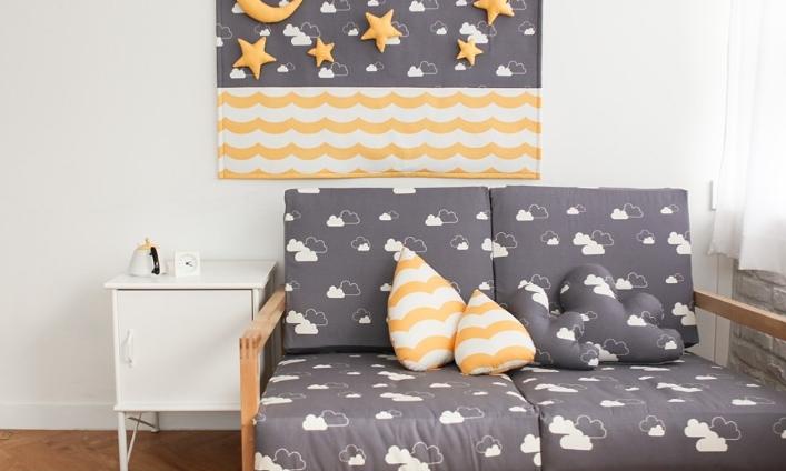 纯棉布料宝宝床品居家布艺云朵图案沙发布套儿童服装