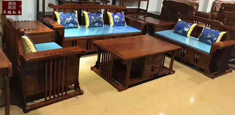 新中式沙发新款6件套刺猬紫檀状元沙发1号123 6件套 新中式沙发新款6件套刺猬紫檀
