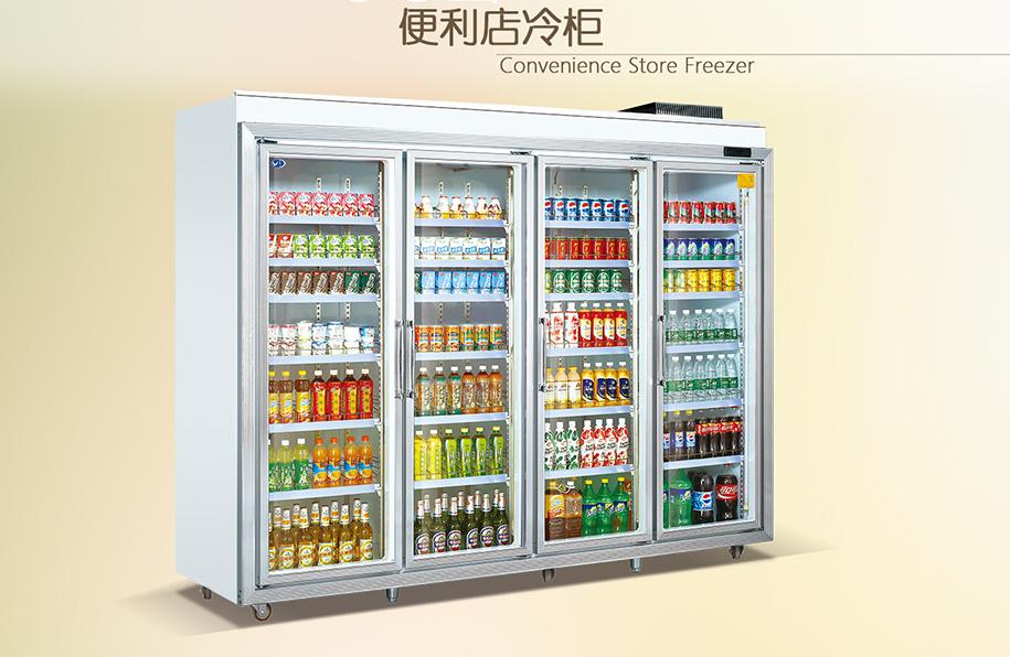 广州便利店四门带灯箱展示柜厂家直销   供应四门 灯箱展示柜 新品发布