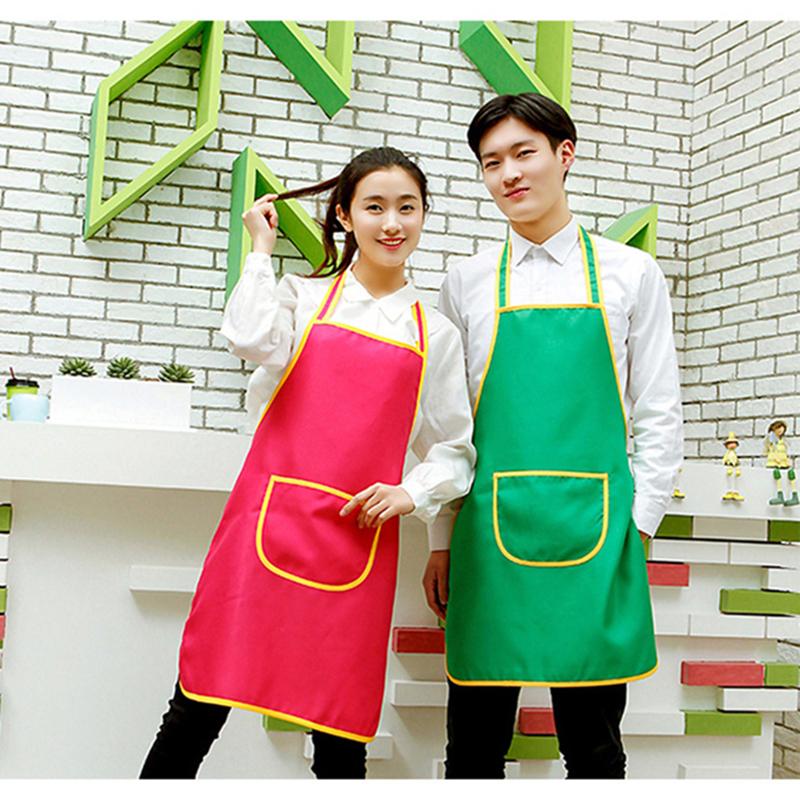 宽黄边广告围裙印字logo 成都厂家供应围裙定制现货广告围裙