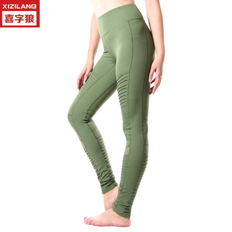 亚马逊新款跑步健身紧身裤女士印花高腰提臀速干运动裤厂家直销