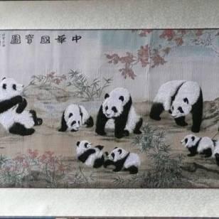 中华国宝图熊猫蜀锦四川特色礼品图片