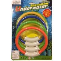 儿童潜水玩具潜水圈、彩色潜水环批发、夏日游泳玩具、水底浮标玩具潜水圈