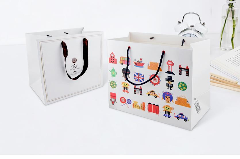 企业手提袋定制 广告白卡纸袋印刷 奶茶打包袋包装袋定做牛皮纸袋