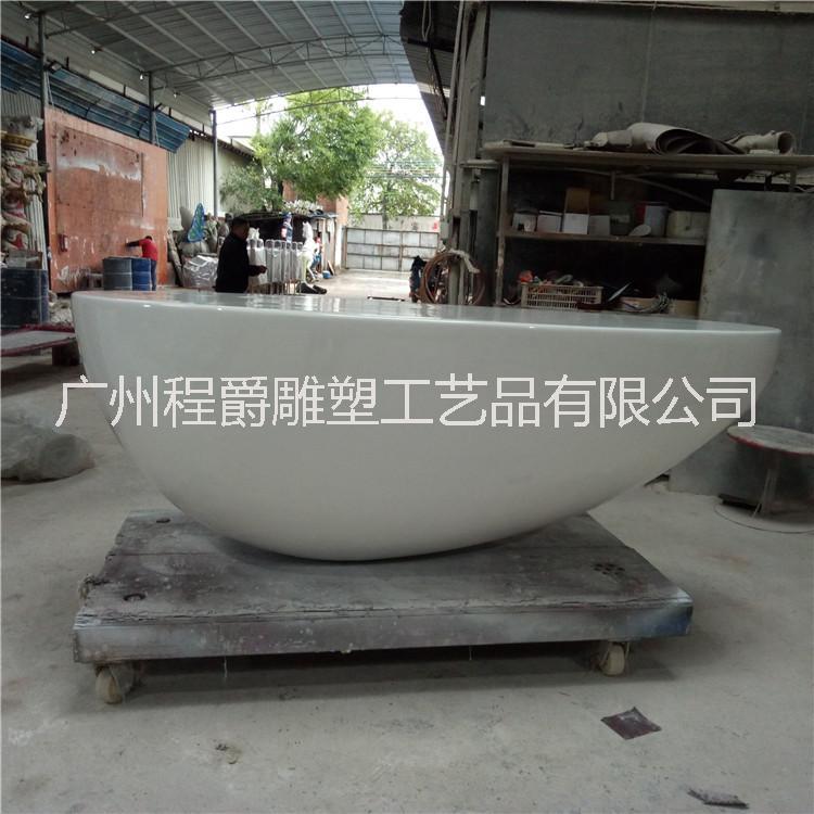 厂家直销 玻璃钢前台雕塑 创意办公家具蛋形前台 办公室异形前台摆件