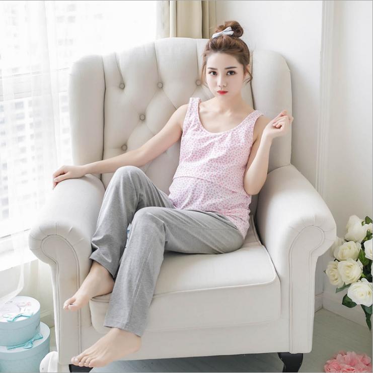 成都哺乳吊带背心批发 成都纯棉粉色豹纹服装 成都薄款产后哺乳衣 成都孕妇夏装生产商