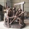 玻璃钢仿古铜消防人物雕塑图片