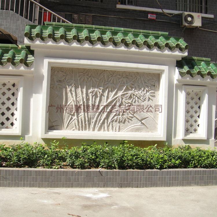 广东雕塑厂家 专业定做玻璃钢竹林仿砂岩浮雕 园林景观旅游文化装饰墙