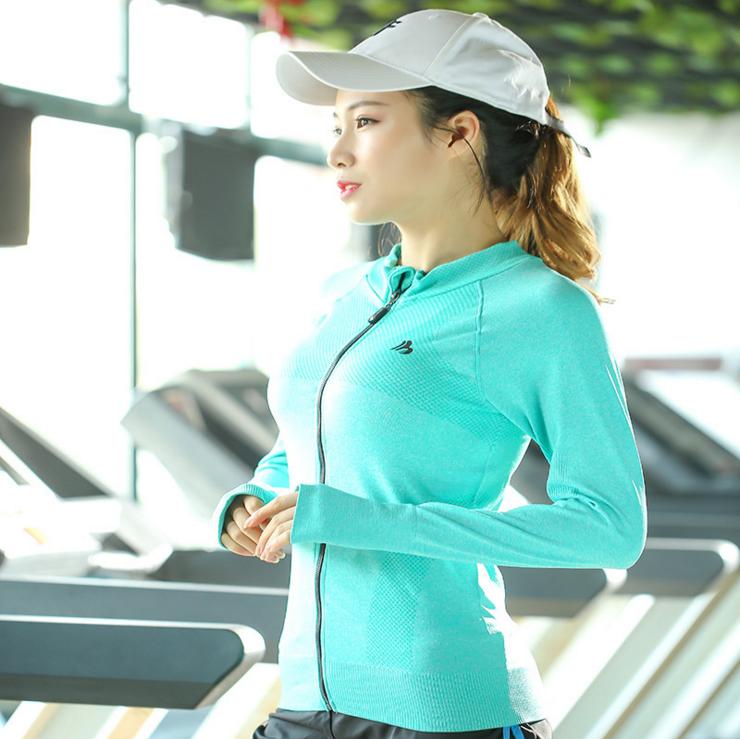 韩版秋冬立领上衣 女式健身运动上衣 长袖跑步健身外套 瑜珈外套 瑜珈外套厂家直销 瑜珈外套批发 义乌瑜珈外套