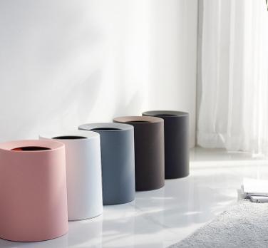 欧式北欧创意卫生间办公室卧室客厅家用大号12L无盖纸篓圆家用垃圾桶 欧式北欧家用垃圾桶