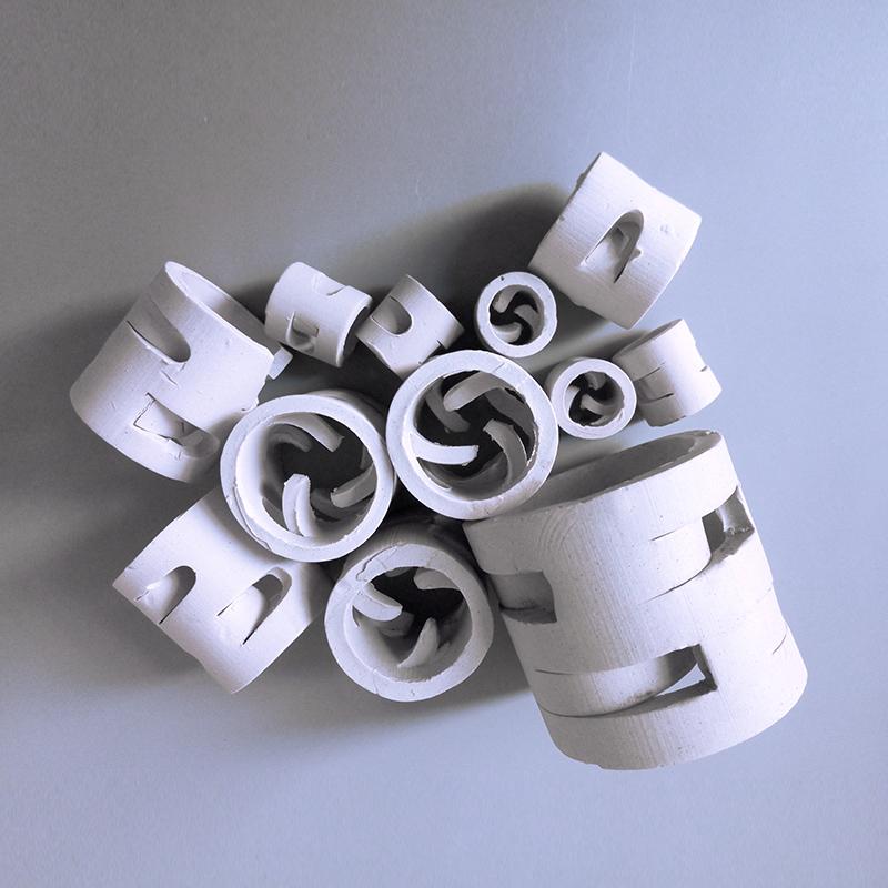 耐高温耐磨蚀吸收塔陶瓷鲍尔环填料-深圳陶瓷填料厂家直销-脱硫塔填料鲍尔环-吸收塔填料-干燥塔填料-再生塔耐高温填料