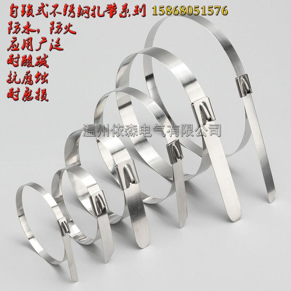 柳市不锈钢扎带厂家4.6 304自锁捆绑带 金属拉杆打包带 耐酸碱金属捆4.6*400