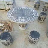 供应圆桌圆凳青石石桌石椅子庭院走廊摆件汉白玉石茶几厂家直销