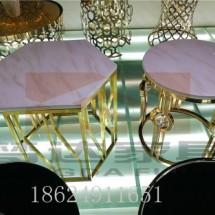 现代简约大理石茶几圆形北欧铁艺钢化玻璃面客厅小户型整装小茶几