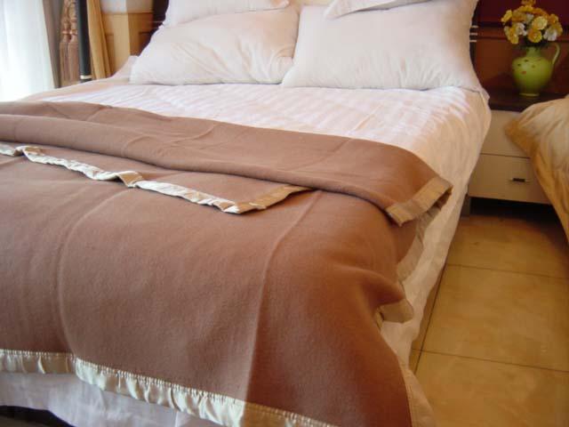 驼色蓝色毛毯宾馆酒店用毛毯
