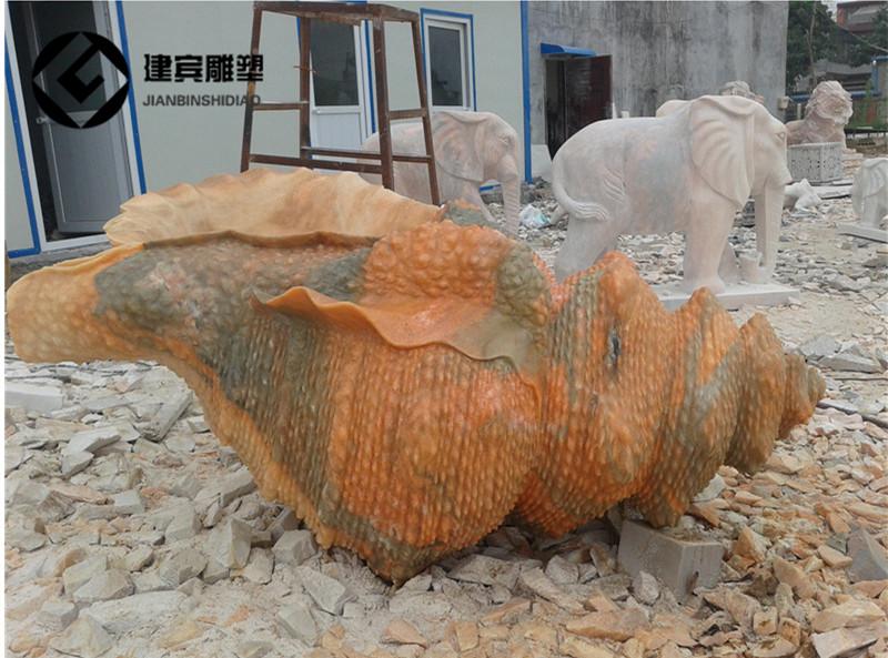 石雕海螺雕塑 广场喷水海螺石雕