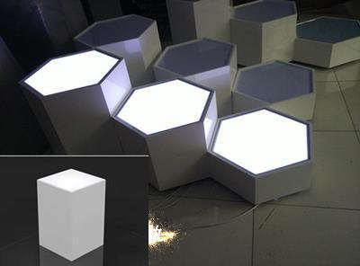 六边形发光橱窗 展台展示台 鞋店 展台模特地台 底座发光地台 定做
