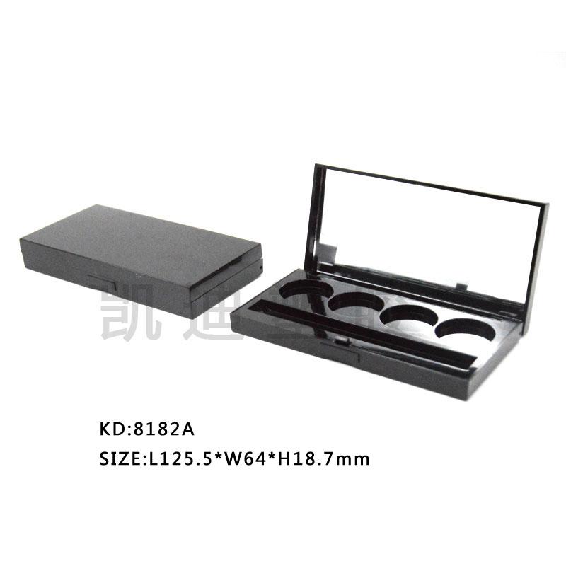 8182A眼影盒 彩妆经典方形四格翻盖盒 带镜内配粉刷槽空盒 厂家热销