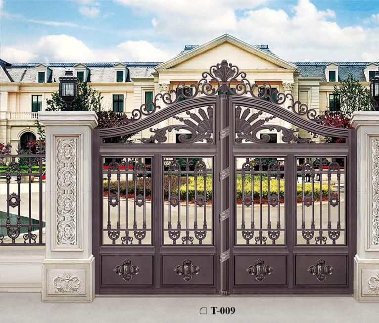 高档别墅庭院门 欧式铝合金大铸铝庭院别墅铝艺电动门  铝合金欧式雕花大门