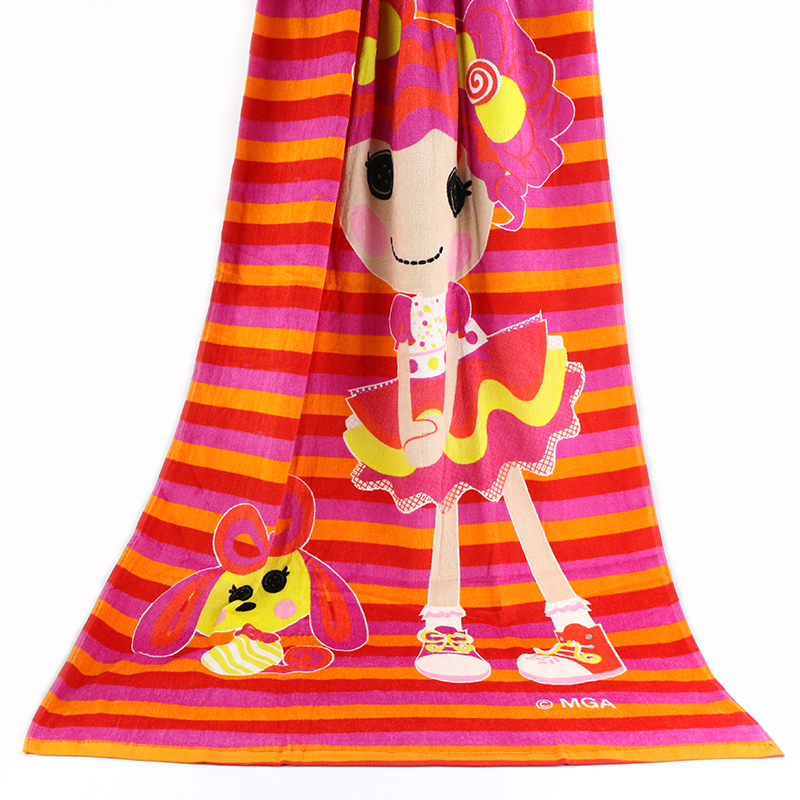 广州厂家批发70*140cm 活性印花沙滩巾外贸热销割绒卡通沙滩浴巾