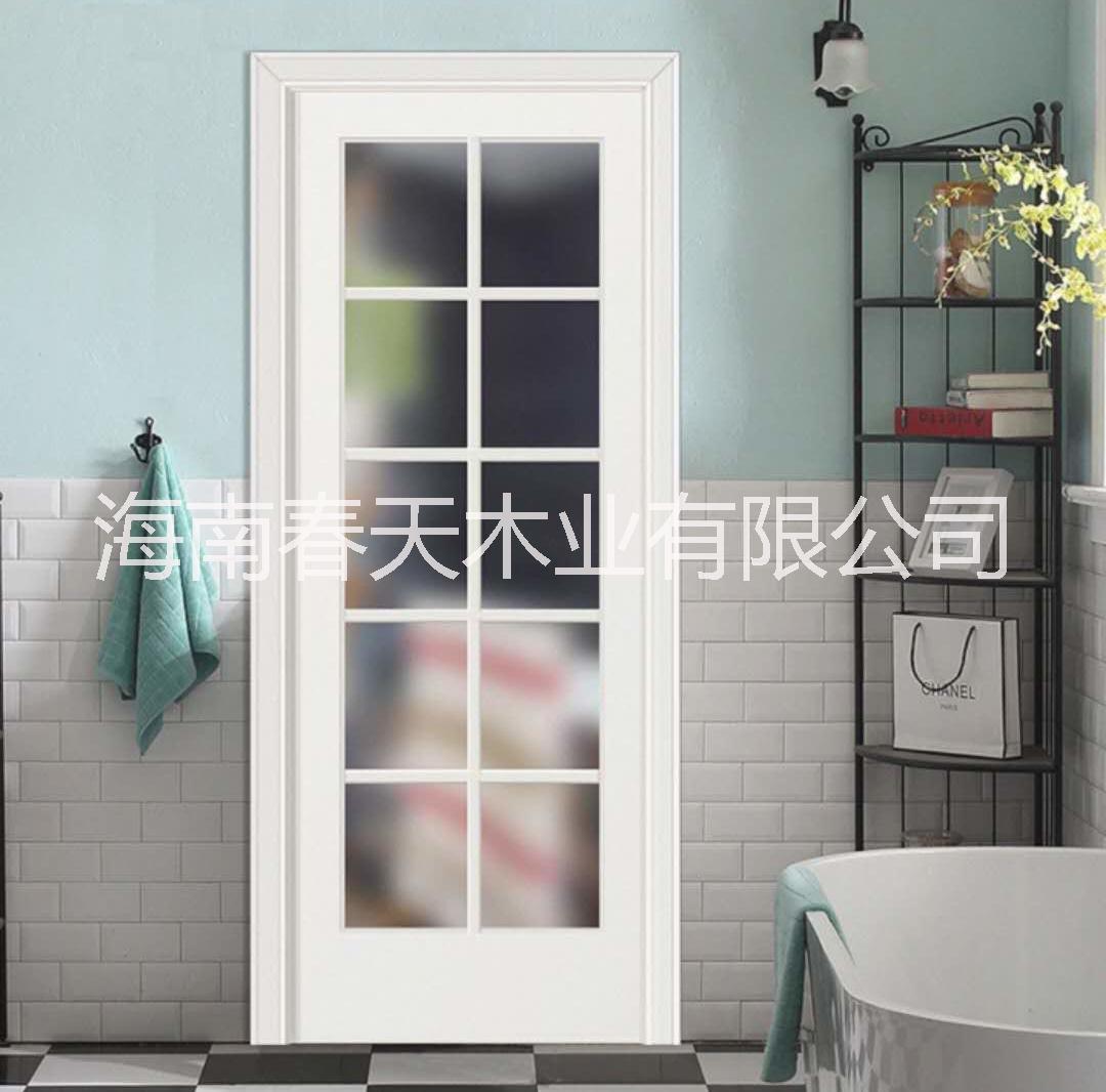 春天木业 时尚家居木门 厂家定制 磨砂玻璃清玻璃带玻璃木门