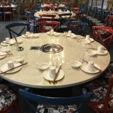 主题铁艺车轮餐桌椅组合火锅店桌子电磁炉一体韩式自助无烟烧烤桌