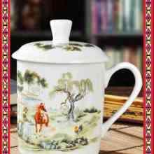 青花玲珑茶杯 复古手工青花瓷茶杯