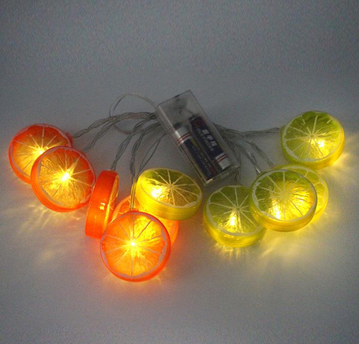LED柠檬灯串电池灯带创意装饰 LED柠檬灯串彩灯厂家 LED柠檬灯发光灯批发价 柠檬灯节日庆典装饰效果